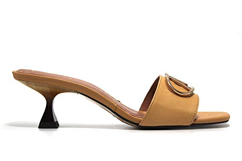 PEDRO MIRALLES - Sandalia de pala, tacón bajo de aguja, de piel, suela de goma, para: Mujer color: CAMEL talla:36