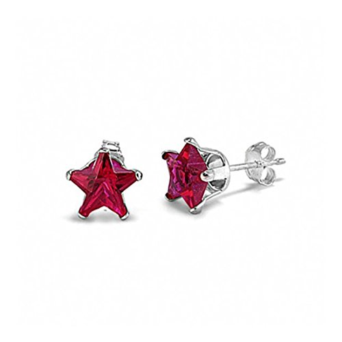 Stud Post Earrings Star Shape Simulated Red Ruby 925 Sterling Silver
