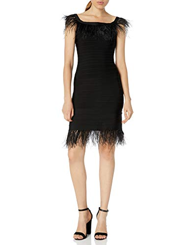 Elliatt Women's Apparel Women's AFFECTION Off The Shoulder Feather Trim Bodycon Dress, Black, M