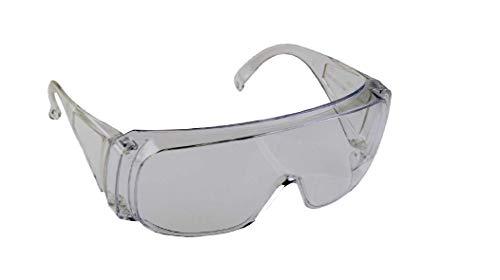 Schutz- und Überbrille aus farblosem Polycarbonat, mit Seiten- und Augenbrauenschutz