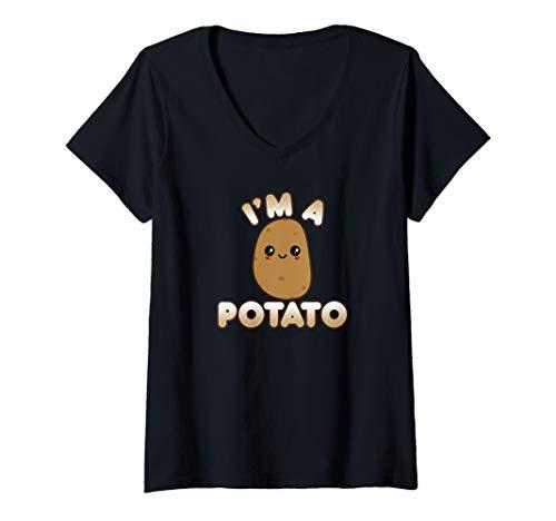 Womens Funny Potato Costume Cute Kawaii Style Smiling I'm A Potato V-Neck T-Shirt