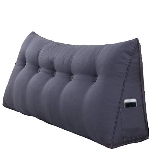 Xuping Tweepersoonsbed driehoekig kussens/kussen met afneembare overtrek, bed, sofa, kantoor, thuis, kan worden gebruikt voor de taille, rug/leeskussen, grijs/zwart