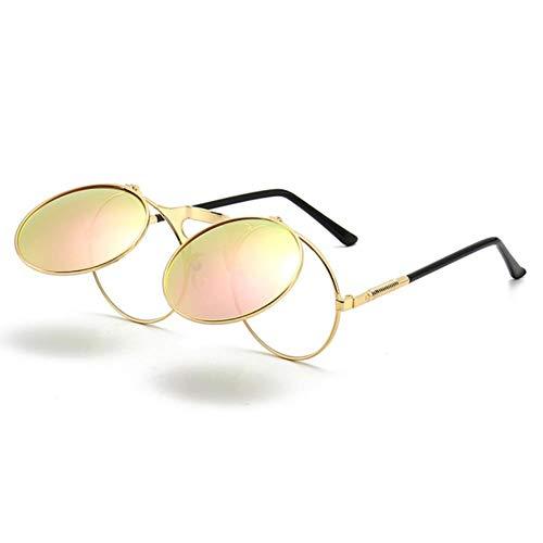 UKKD Gafas De Sol Mujeres Gafas De Sol Retro Metal Punk Steam Flip Gafas De Sol Flip Gafas De Sol Hombres Y Mujeres Personalidad Gafas De Sol Señoras Sunglasse