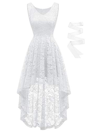 BeryLove Damen Spitzen Vokuhila Cocktailkleid V Ausschnitt Ärmellos Elegant Brautjungfernkleid Partykleid BLP7018WhiteXL