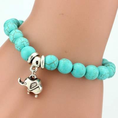 DASHUAIGE Pulsera Vintage Charm Bracelets Brazaletes Mujeres Natural Stone Elephant Owl Colgante Bead Bracelet Men Jewelry