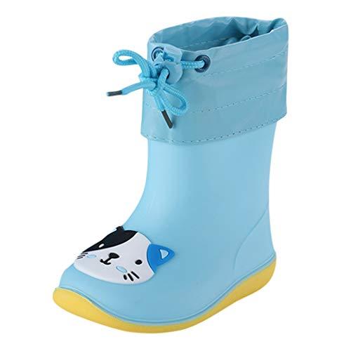 WEXCV Unisex Baby Jungen Mädchen Gummistiefel Kinder Einfarbig Cartoon Ente Verdicken Schnürsenkel Schuhe Kinderschuh rutschfest Wasserdicht Schuhe Regenstiefel (26.5 EU, I-Blau)