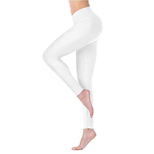 Yowablo Damen Sport Leggings, Hochwertige Sporthose mit Taschen Hohe Taille und Enge Fitness Yoga Hosen nackt versteckt (XS,1Weiß)