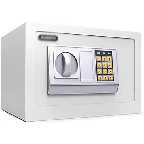 Cajas fuertes Construcción de acero, caja fuerte digital mediana, pantalla LCD, llave de anulación de emergencia, 20 cm, antirrobo, ignífugo e impermeable, caja de seguridad para oficina en el hogar