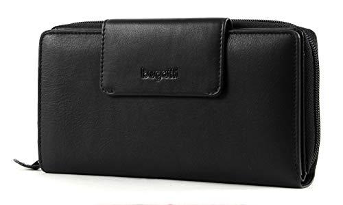 Bugatti Vertice Portemonnaie Damen Leder 24 CC, Geldbörse Damen Leder - Portmonee Geldbeutel Damengeldbörse - Schwarz