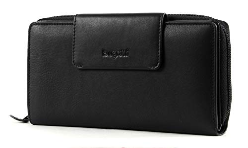 bugatti Vertice Ladies Zip Wallet with Strap 24CC Black