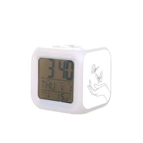 Mano y mariposas LED Digital Despertador Calendario Temperatura Colorido Luz de la Noche Dormitorio Reloj de Escritorio con Batería