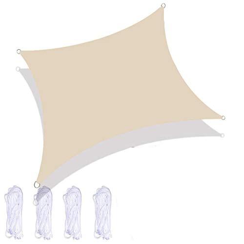 Ikaif Toldo De Vela, Toldo Rectangular De Protección UV Impermeable, Jardín De Playa De Verano Al Aire Libre, con 4 Cuerdas De Amarre (Beige,2X2m)