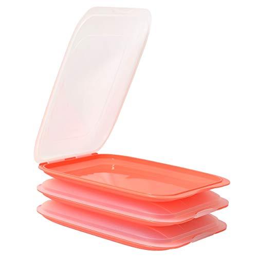 ENGELLAND - Hochwertige stapelbare Aufschnitt-Boxen, Frischhaltedose für Aufschnitt. Wurst Behälter. Perfekte Ordnung im Kühlschrank, 3 Stück Farbe Lachsrosa, Maße 25 x 17 x 3.3 cm