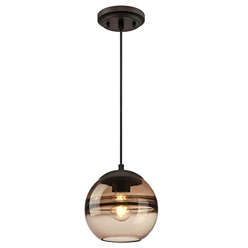 Westinghouse Lighting 6366800 One-Light Indoor Mini Pendant Light, Oil Rubbed Bronze Finish with Amber Glass