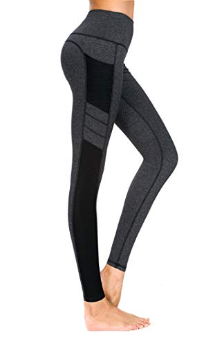 New Mincc Leggings de Sport pour Femme Pantalon Yoga Fitness Minceur Long avec Poches Basique élastique Running Skinny, A Noir 1988 Fba, XL
