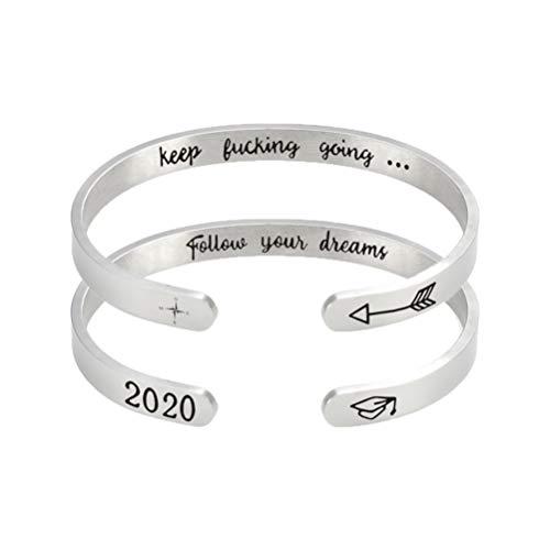 Amosfun Inspirierende Graduierung Geschenke Manschette Armband Graviert Inspirierende Armband Armreif 2020 Graduierung Mantra Zitat Armband Freundschaft Geschenke 2Pcs (Zufälliger Stil)