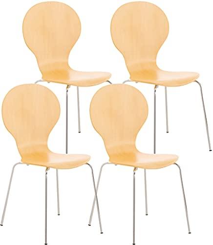 CLP 4X Stapelstuhl Diego l Ergonomisch geformter Konferenzstuhl mit Holzsitz und Metallgestell I Stapelbarer Stuhl mit pflegeleichter Sitzfläche, Farbe:Natura