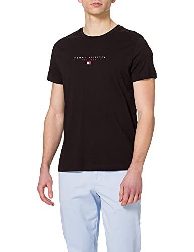 Tommy Hilfiger Essential in Cotone con Logo Maglietta a Maniche Corte, Nero (Nero), S Uomo