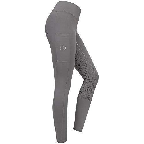 RIDERS CHOICE RidersDeal Collection - Mallas de equitación para mujer con ribete de silicona y bolsillo para el móvil, todo el año, Mujer, color gris plateado, tamaño 34