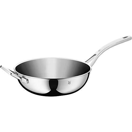 WMF Set de wok 2piezas Wok metal Tapa regulable wrase Gatillo para saltear Multiply unbeschichtet Multiply Tapa de Metal para saltear Cromargan 28cm de diámetro acero inoxidable rostfreigriff multicapa material Inducción Lavavajillas.
