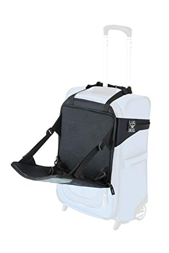 Lugabug Travel Seat, Child Carrier for Carry-On Luggage - Family Travel at Airport Made Easy (Black/Grey)
