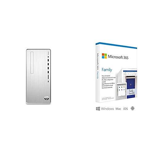 HP – PC Pavilion TP01-0050nl Desktop, Intel Core i5-9400, RAM 8 GB, SSD 256 GB, Grafi + Microsoft 365 Family   6 Persone   Box