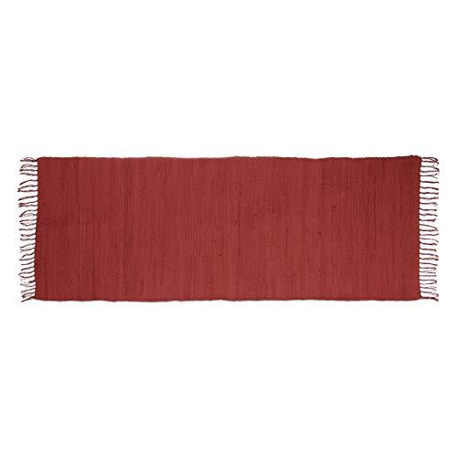 Relaxdays–Alfombra de Corredor con Flecos Rojo 80x 200cm 100% algodón Uni Alfombra de salón, Rojo
