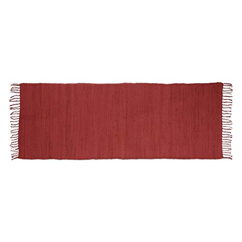Relaxdays Flickenteppich rot 80 x 200 cm mit Fransen aus 100 % Baumwolle einfarbig, Fleckerlteppich, red