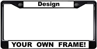 Custom Personalized Black Metal Car License Plate Frame with Free caps - White/Black