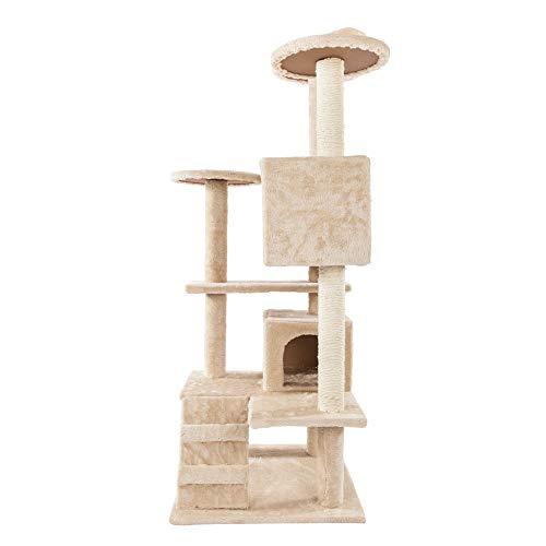"no-branded 52""Solid Cute Sisal Seil Plüsch Cat Climb Tree Cat Tower (Brown)"