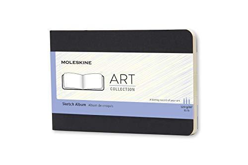 Moleskine Art Collection Skizzenbuch (Zeichenblock mit Hardcover, Papier geeignet für Stifte, Bleistifte und Zeichenkohle, Taschenformat 9 x 14 cm, 72 Seiten) schwarz