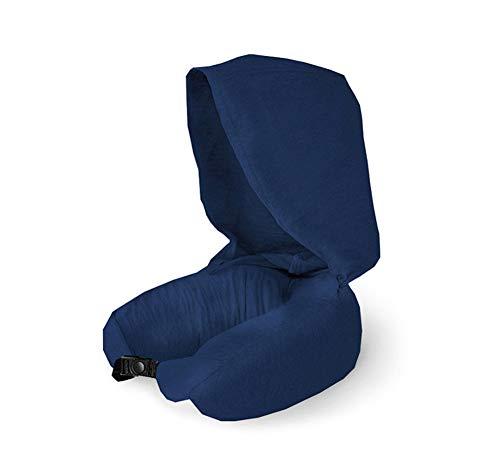 Zidao El látex Natural Paticals Viaje Cojín U Almohada para Cuello Sujetador, Bueno para Plano Y Oficina Siesta - Lucha contra los ácaros del Polvo - Casquillo y Lavable Cubierta,Azul