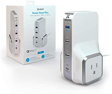 Atomi Power Tower Plus Desktop Charger Qualcomm 3 0 Quick Charge 4 USB Ports 2 Wall Outlets product image