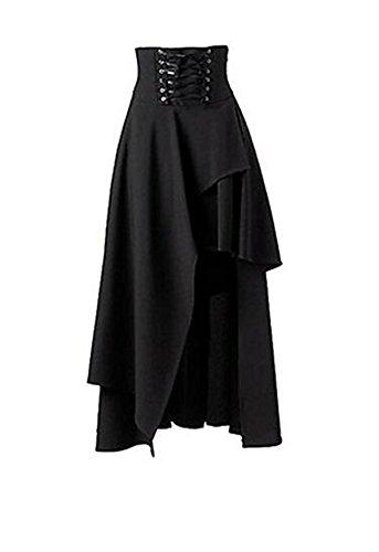 Falda negra estilo gótico, punk, con banda en la cintura, corta por delante y...