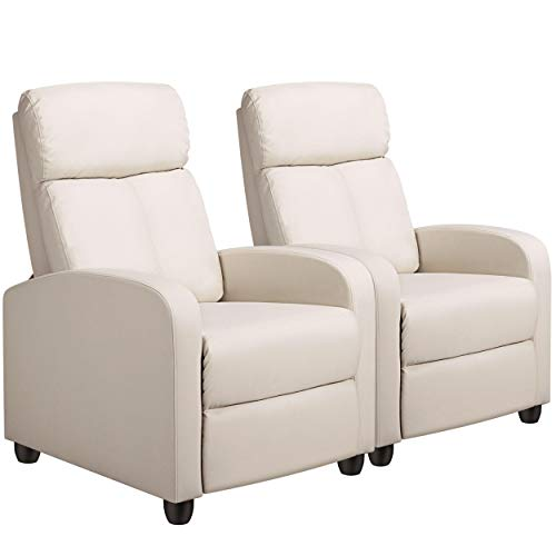 YAHEETECH Reclining Leather Chair Gaming Chair Single Sofa Home Theater Seating with Pocket Spring for Small Space Living Room Bedroom Beige