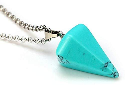 NC188 Collares Pendientes de Piedra para Mujer Collares Pendientes de Cristal Turquesa Azul cónico Hexagonal de Piedra Natural con Cadena de Plata Adornos navideños Regalo para Mujeres Hombres