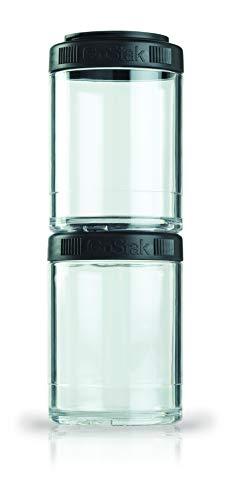 BlenderBottle GO STAK GoStak Twist n' Lock Storage Jars, 150cc 2-Pak, Black
