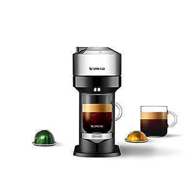 Nespresso Vertuo Next Deluxe Coffee and Espresso Machine NEW by De'Longhi, Pure Chrome, Single Serve Coffee & Espresso Maker, One Touch to Brew