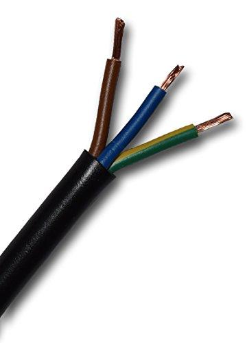 Rubberen kabel, zware rubberen kabel, H07RN-F, 3G1,5 mm2 (3 x 1,5 mm2) per meter, verlengkabel, rubberen aansluitkabel (bouwkabel), buitenbereik IP44, keuze in stappen van 1 meter 100 Meter Mantel zwart - Aders gekleurd