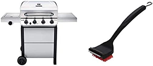 Char-Broil 463377319 Performance 4-Burner Cart Style Liquid Propane Gas Grill, Stainless Steel & 8666894 SAFER Replaceable Head Nylon Bristle Grill Brush with Cool Clean Technology, One Size