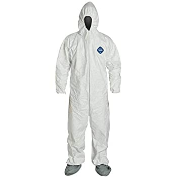 DuPont TY122S 5XL EACH Disposable Elastic Wrist Bootie and Hood Tyvek Coverall Suit 1414 White