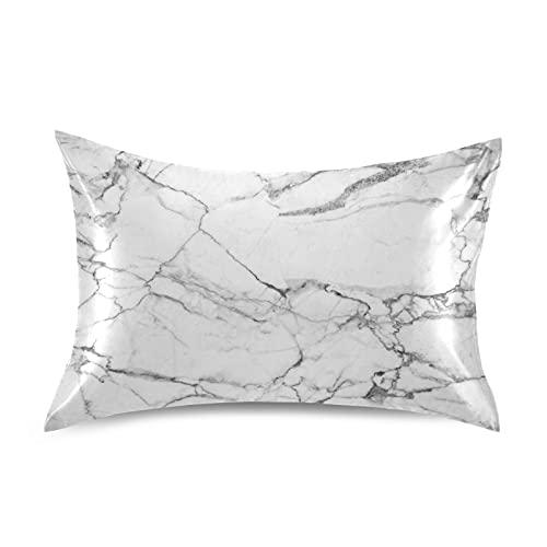 HMZXZ Funda de almohada de satén para pelo y piel, diseño abstracto de mármol blanco y negro, tamaño King de 50,8 x 101,6 cm, funda de almohada suave con cierre de sobre, para sofá, cama, casa