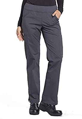 Cherokee Workwear Professionals Mid Rise Straight Leg Pull-on Cargo Scrub Pant, XL, Pewter