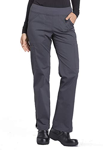 Cherokee Workwear Professionals Mid Rise Straight Leg Pull-on Cargo Scrub Pant, M, Pewter