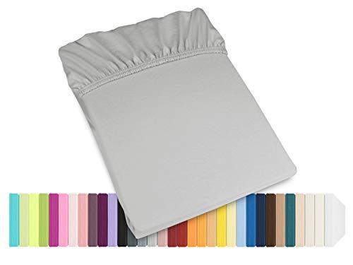 Schlafgut Mako Jersey Spannbetttuch 15001 oder  Kissenbezug 15101 - Baumwolle 406.463, silber, Spannbetttuch 90-100 x 200 cm