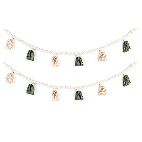 BlueMake 2 Pack Macrame Woven Tassel Garland Belly Basket Decorative Wall Hangings for Boho Home Decor,Nursey Room(Green)