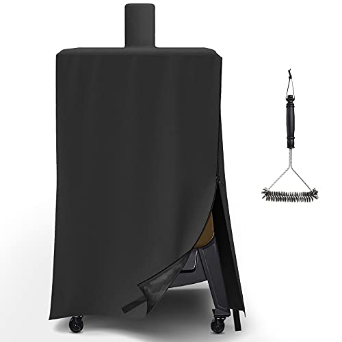 Upgraded Vertical Pellet Smoker Cover for Pit Boss 4/5-Series, PBV4PS1, PBV5PW1, PBV4PS2, Durable & Waterproof, Special Zipper Design, Black