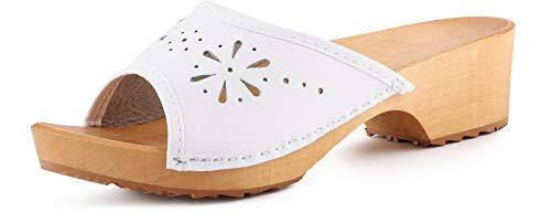 Ladeheid Zuecos de Madera Crocs Sandalias Chanclas Zapatos Verano Mujer LAFA040 (Blanco, 41 EU)