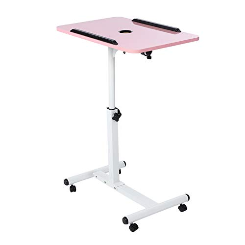 Haofy Mobile Laptop Table, Portable Multifunctional Computer Desk with Mini Fan, Removable Laptop Table with Wheels, Bed Sofa Desk Books Snack Table (pink)