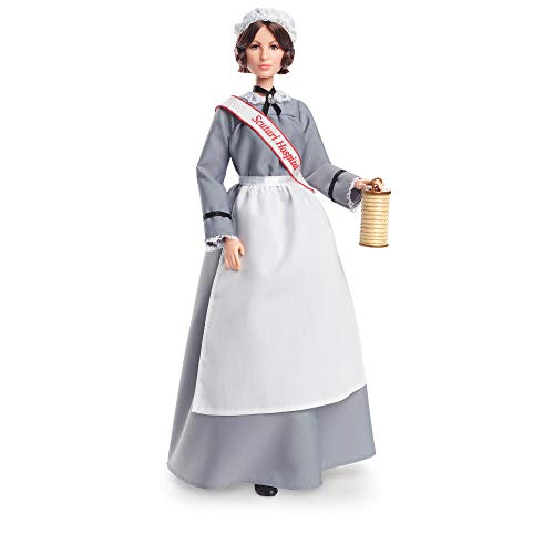 Barbie Inspiring Women Series Florence Nightingale Collectible Doll, Approx. 12-in, Wearing Nurse?s Uniform, Apron and Cap with Doll Stand and Certificate of Authenticity